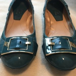 Marc Fisher Patent Leather Blue and Gold Flats